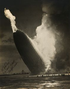 Hindenburg disaster photographed by Murray Becker in 1937 photograph showing a smoking and flaming Hindenburg crashing to the ground as people run away.