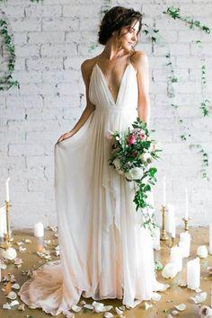 Ivory Wedding Dresses, Wedding Dresses 2018, V Neck Wedding Dresses, Cheap Wedding Dresses, V-neck Wedding Dresses #IvoryWeddingDresses #WeddingDresses2018 #VNeckWeddingDresses #CheapWeddingDresses #VneckWeddingDresses