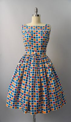 1950's checkered print cotton sun dress medium