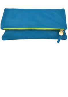 Foldover clutch bag - Aqua & Neon