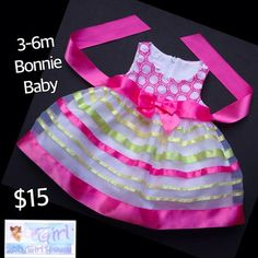ON SALE ONLY $10 for this Bonnie Baby 3-6m Infant Girls Picture Perfect Dress!  Follow Baby Girl Heaven on Facebook