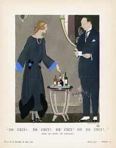 Dinner dress by Doeuillet, 1921 Gazette du bon ton English Fashion, European Fashion, Art Deco Artwork, Winter Night, Retro Art, Fashion Sketches, First World, Fashion Art, 1920s