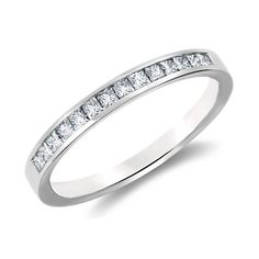 Channel Set Princess Cut Diamond Ring in 14k White Gold (1/3 ct. tw.) - $910
