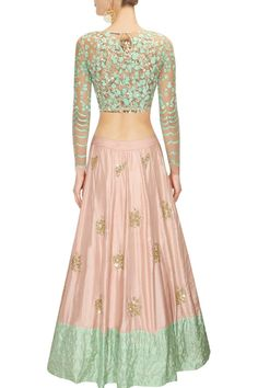 Peach moti work and sequins embroidered lehenga set available only at Pernia's Pop Up Shop.