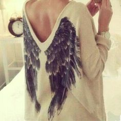 This t-shirt is characterized by Angel Wings print pattern,fashion and unique. Sexy v-neck and long sleeve design. You can pair it with your jeans. Looks Style, Looks Cool, Style Me, Gypsy Style, Look Fashion, Fashion Beauty, Girl Fashion, Womens Fashion, Fashion Today