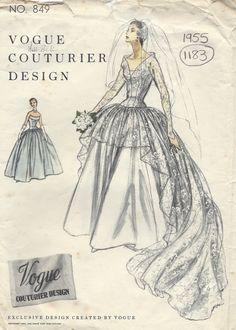 1955 Vintage VOGUE Sewing Pattern B34 BRIDAL DRESS or EVENING DRESS (1183) #Vogue