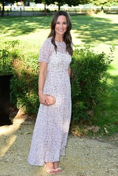 Pippa Middleton wearing L.K.Bennett Karo Printed Dress, Aperlai Nude Behati Open Toe Leather High Heel Sandals and Hoss Intropia Spring 2014 Clutch