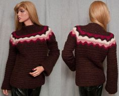 J Crew Sweater Alpaca Womens M Hand Knit Crocheted Pullover Cozy Soft Brown