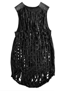 Woven Leather Dress - fabric manipulation using an open weave technique with recycled leather; textiles design for fashion // Sanna Hopiavuori