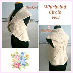 Crochet Whirlwind circle vest - Maz Kwok's Designs - free pattern in size L Full pattern sizes to purchase. Crochet Circle Vest, Crochet Circles, Crochet Shawl, Easy Crochet, Crochet Hooks, Crochet Vests, Crochet Sweaters, Crochet Cardigan, Crochet Top