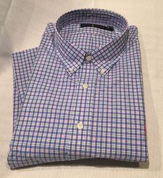 a0833f42 Ralph Lauren Men's Plaid Shirt Blue Cotton Long Sleeve Blue White Red XXL  2XL | eBay