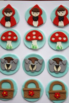 Items similar to Little Red Riding Hood Fondant Cupcake Toppers on Etsy - Cupcakes Fondant Cupcake Toppers, Fondant Cookies, Cupcake Cookies, Cake Fondant, Red Riding Hood Party, Little Red Ridding Hood, Kid Cupcakes, Valentine Cupcakes, Fondant Animals