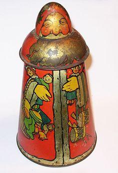 1900s Figural SANTA CLAUS Biscuit Tin, Carr & Co. Carlisle, UK, as found