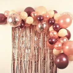 Our Rose Gold, Blush and Maroon Balloon Garland Kit has a mixture of Metallic Ro. - balloon decoration - Our Rose Gold, Blush and Maroon Balloon Garland Kit has a mixture of Metallic Ro… – Balloon Dec - Balloon Decorations Party, Balloon Garland, Birthday Party Decorations, Balloon Ideas, Rose Gold Party Decorations, Hen Party Balloons, Balloon Clouds, Celebration Balloons, Balloon Display