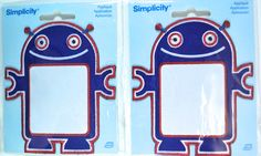 "Simplicity Robot Iron On Applique Patch, Large 4 1/4"" X 3 3/4"", Set of (2)."