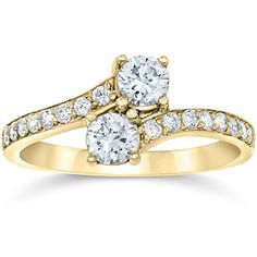 1 Carat Forever Us 2 Stone Diamond Ring 10K Yellow Gold -- More info could be found at the image url-affiliate link. #FineJewelry