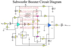 Subwoofer booster circuit is used to enhancing or boosting or increase the subwoofer amplifier, but it also can improve the quality of the bass sound on an amplifier or High Power Amplifier. Electronics Components, Diy Electronics, Electronics Projects, Best Subwoofer, Powered Subwoofer, Speaker Amplifier, Subwoofer Speaker, Dc Circuit, Circuit Diagram