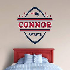 The New England Patriots Personalized Name wall decal from Fathead is a great way to personalize young New England Patriots fan's bedroom.
