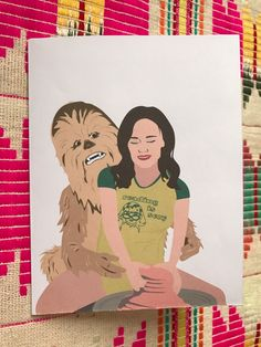 Gilmore Girls Digital Download Valentine's Card, A Year In The Life, Rory Gilmore & the Wookie, Folded Card, Digital Download, Instant Card