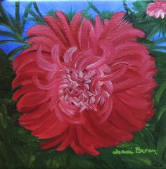 Tami Baron - Red Aster - Oil on canvas 8 x 8
