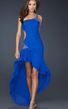 Blue High-Low Style homecoming Dresses La Femme Hot Sale
