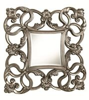 901779 Accent Mirrors Traditional Accent Mirror with Scrolled Fleur Designs and Curved Frame in Pewter