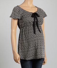 Look at this Oh! Mamma Black & Ivory Dot Maternity Cap-Sleeve Top - Women on #zulily today!