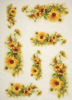 Rice Paper for Decoupage Decopatch Scrapbook Craft Sheet Vintage Sunflowers Paper Napkins For Decoupage, Decoupage Art, Decoupage Vintage, Flamingo Wallpaper, Decoupage Printables, Hand Painted Fabric, Free Stencils, Newspaper Crafts, Vintage Sheets