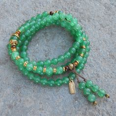 Balance, aventurine gemstone 108 bead wrap mala bracelet or necklace – Lovepray jewelry