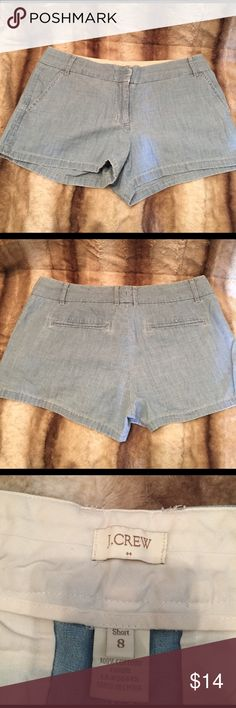 """J. Crew Chambray Shorts Euc no stains or holes. Chambray blue color. 2.5"""" inseam. No trades please J. Crew Shorts"""