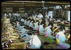 Bagging the dried tea for foerighn markets Enami Studio Lantern Slide No : 608. About 1920's, Japan