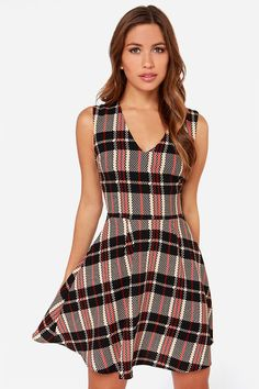 Chickity Checker Yo Self Black and Tan Skater Dress