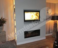 Make a MDF cabinet with a TV and an electric fireplace. windows, a wide and 50 centimeters deep. The left side of the 2 holes with a tungsten halogen lamp. The attached image is what the wall would have to be made. Interior Design Living Room Warm, Living Room And Kitchen Design, Living Room Plan, Living Room Colors, Living Room Modern, Living Room Designs, Living Room Decor, Mdf Cabinets, Home Fireplace