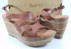Women's Shoes Born BULENA Platform Wedge Heels Sandals Dark Brown Size 10 #Brn #Strappy #Casual