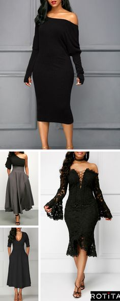 Brighten your wardrobe with these black dresses from Rotita.A unique design add to the standout style of this affordable holiday look.Shop the collection now. Sexy Dresses, Cute Dresses, Beautiful Dresses, Cute Outfits, Prom Dresses, Formal Dresses, Formal Wear, Lil Black Dress, Curvy Fashion