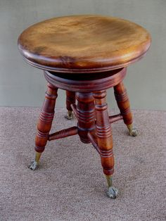 beautiful antique piano stool with ball & claw feet | piano stool