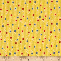Penny Rose Hope Chest Hope Squares Yellow from @fabricdotcom  Designed by Erin Turner for Penny Rose, this cotton print is perfect for quilting, apparel and home decor accents.  Colors include off white, yellow, blue and red.