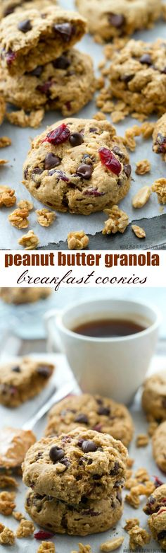 Loaded to the max with lots of peanut butter, granola, and fun add-ins, these grab-and-go breakfast cookies are the easiest and tastiest way to start the day.---NO butter or oil in these super-soft cookies!