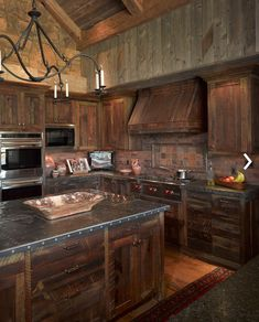 Rustic kitchen in a Wyoming vacation home designed by JLF Architects and Bruce Kading Interior Design
