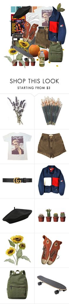 """D O  Y O U  L I S T E N  T O  B O W I E?🍊"" by cluelesspeach ❤ liked on Polyvore featuring American Apparel, Gucci, M&Co, Polaroid, Pier 1 Imports, Converse and Herschel Supply Co."