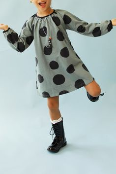 Girls' dotted green |gella| dress