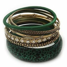 Antique Gold Metal & Dark Green Animal Print Wood Bangle Set of 7 - 18cm Length Avalaya. $24.30. Collection: wooden. Material: wood. Metal Finish: antique gold. Occasion: casual wear, club night out, cocktail party. Gemstone: diamante