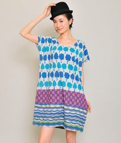 Round Neck Short Sleeve One-Piece H(Little Tree Pattern)