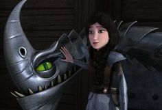 Heather and Windshear the Razorwhip dragon from Dreamworks Dragons Race to the Edge