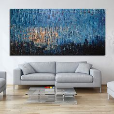 Original Huge Large Abstract Modern Art Oil Painting - Michel Campeau - MADE TO ODER - 36''x72""
