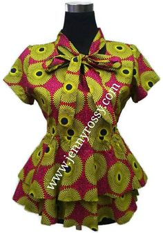 ON SALES African clothing Top Ankara double peplum ruffle Blouse bow tie top African Inspired Fashion, Latest African Fashion Dresses, African Print Dresses, African Print Fashion, Africa Fashion, African Dress, African Blouses, African Tops, African Attire