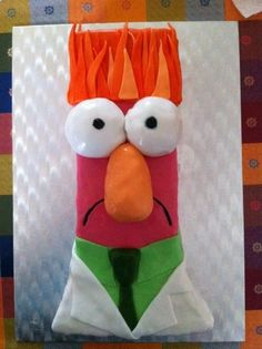 Beaker Cake Beaker from the muppets. Vanilla buttercake covered with fondant. Viera, Christmas Stockings, Fondant, Vanilla, Holiday Decor, Cakes, Frosting, Party Ideas, Future