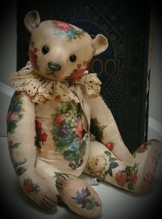 """""""Truly Thine"""" a 14 inch Victorian scrapbook inspired, shabby chic style traditional teddy made from calico and scanned images"""