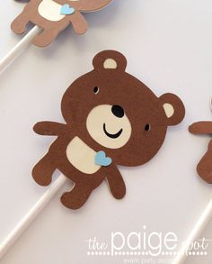 Brown Bear Cupcake Toppers  12  light blue heart by ThePaigeSpot