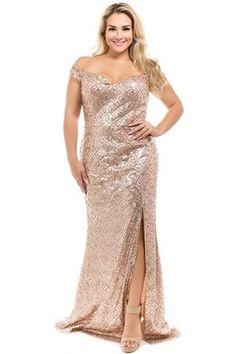 Rose Gold Sequin Off Shoulder Plus Size Dress Gold Plus Size Dresses, Plus Size Tunic Dress, Plus Size Gowns, Plus Size Outfits, Tunic Dresses, Gold Formal Dress, Gold Dress, Rose Gold Gown, Dresser